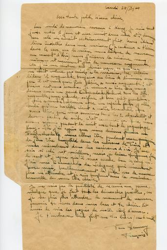 """Intérieur de la lettre écrite par François Meusburger adressée à sa """"Nison"""", et envoyée le 24 Octobre 1944."""