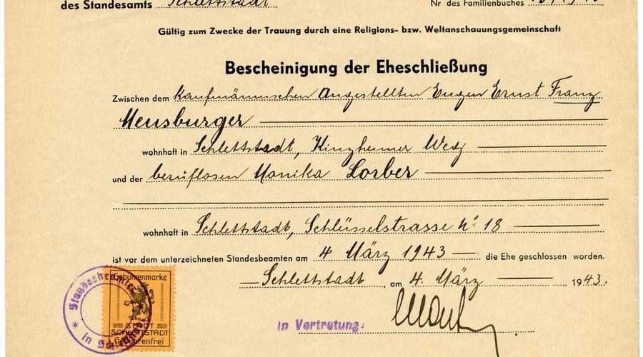 """Acte de mariage entre """"Franz"""" François Meusburger et """"Monika"""" Lorber, dont le nom français est Denise. Ils se sont mariés le 4 Mars 1943, juste avant l'incorporation de force de François dans la Wehrmacht."""