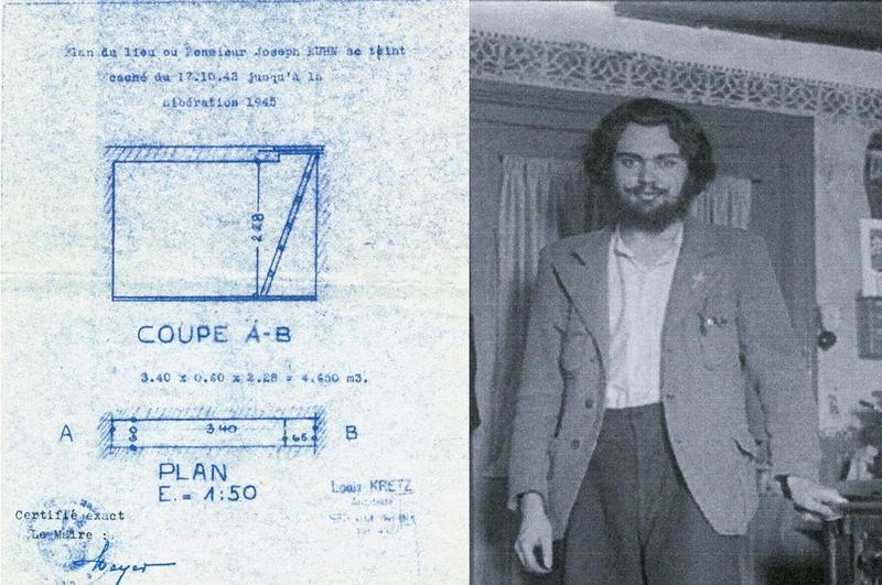 Le plan de la cachette de Joseph Kuhn et photographie de Joseph Kuhn