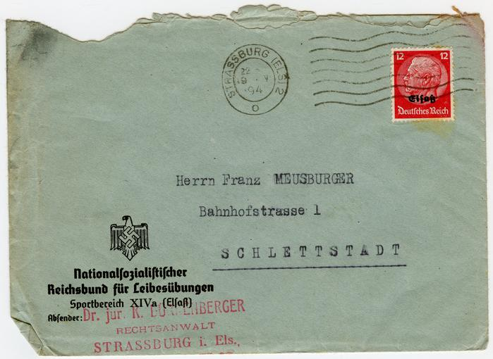 """Une série de courriers adressés à François Meusburger, provenant du """"Nationalsozialistischer Reichsbund für Leibesübungen"""", la Fédération nationale-socialiste pour l'éducation physique."""