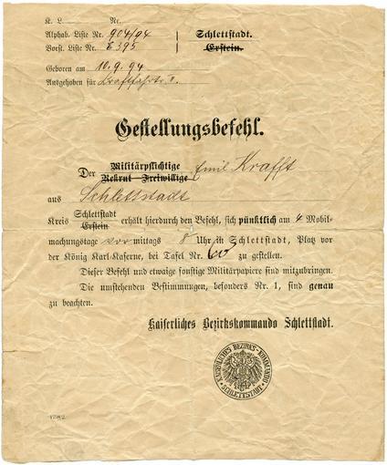 """Ordre de mobilisation froissé, adressé à """"Emil"""" Krafft qui est le premier prénom de Karl. À cette époque, le 3eme prénom était le plus souvent utilisé dans la vie courante."""