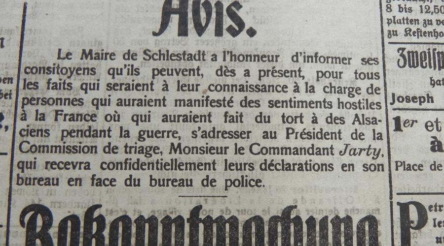 """La ville de Sélestat invite ses habitants à dénoncer """"les personnes qui auraient manifesté un sentiment hostile à l'égard de la France, ou qui auraient fait du tort à des Alsaciens pendant la guerre"""".  Le 10 janvier 1919."""