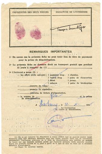 Fiche de démobilisation, verso. Signée le 20 Décembre 1945.