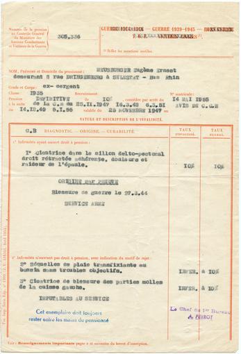 Sur un des feuillets de la pension militaire d'invalidité sont inscrites les 3 blessures de François Meusburger (voir chronologie ci-dessus).