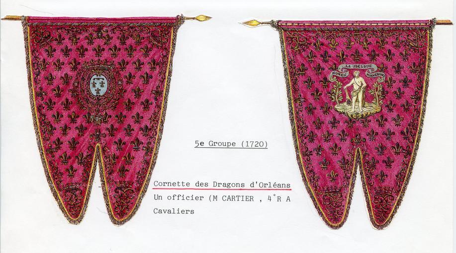 Cornettes du régiment des Dragons d'Orléans, dessinés par Monsieur Siegel (époque : 1720).