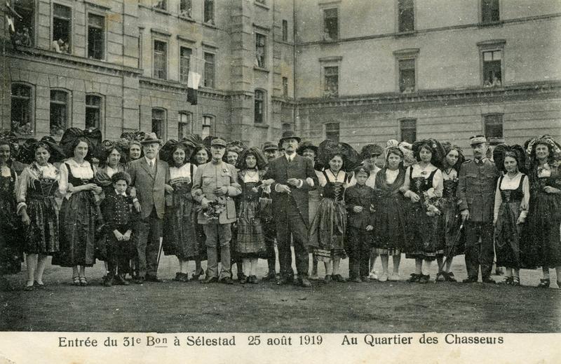 Entrée du 31eme Bataillon à Sélestat, le 25 Août 1919. Au Quartier des Chasseurs