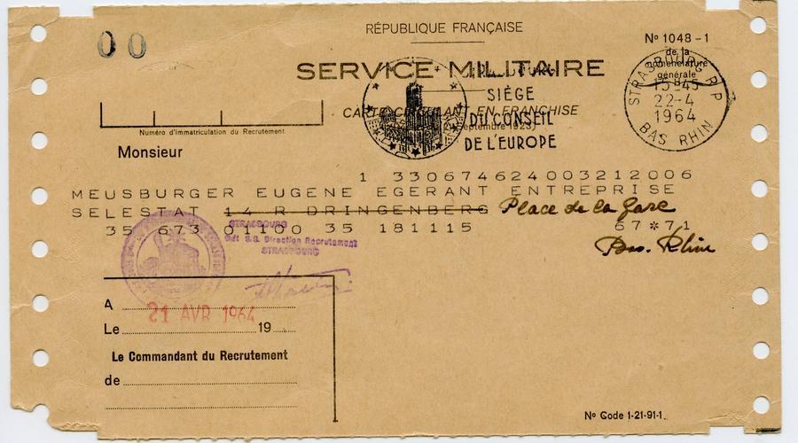 Titre de libération définitive du service militaire adressé à François Meusburger, signée le 21 Avril 1964.