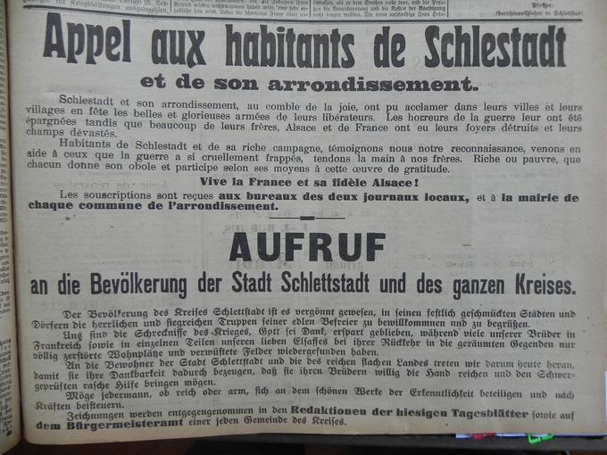 """Un appel à la solidarité pour """"venir en aide à ceux que la guerre a si cruellement frappé"""" Le 4 Décembre 1918."""