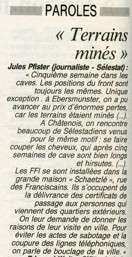 Témoignage de Jules Pfister, extrait de la page du 30 Décembre 1944.