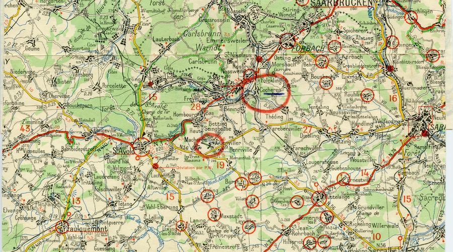 François Meusburger indique sa position en Août 1944 et précise qu'il a été touché par une rafale de mitrailleuses des S.S. en essayant de s'évader, étant toujours enrôlé dans l'armée allemande.