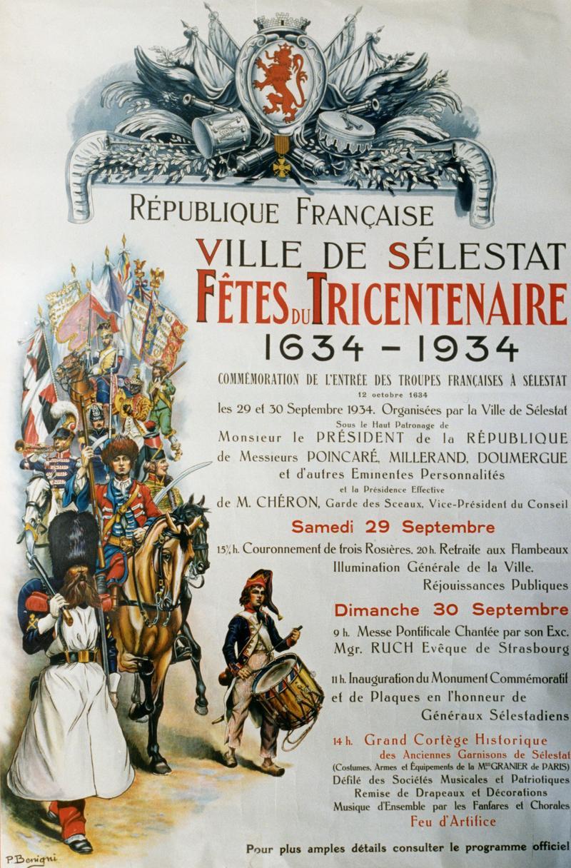 L'affiche des Fêtes du Tricentenaire en 1934 réalisée par Pierre Benigni.